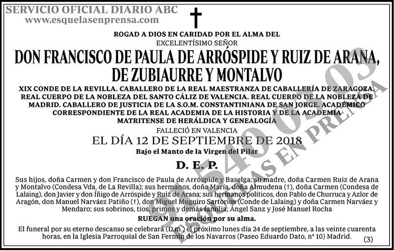 Francisco de Paula de Arróspide y Ruiz de Arana, de Zubiaurre y Montalvo